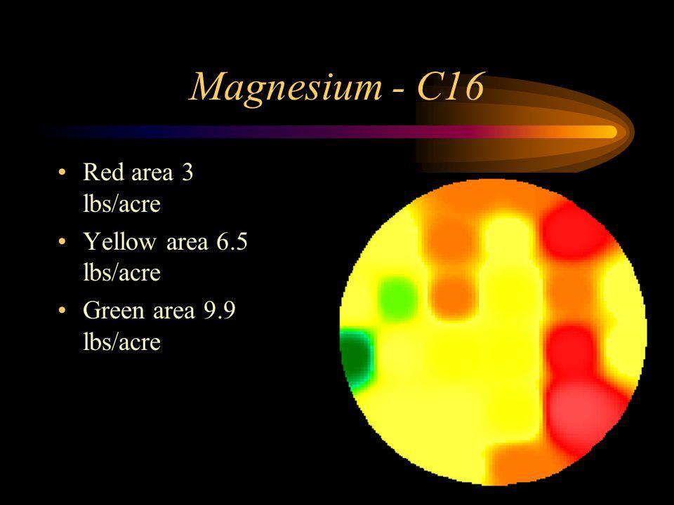 Magnesium - C16 Red area 3 lbs/acre Yellow area 6.5 lbs/acre Green area 9.9 lbs/acre