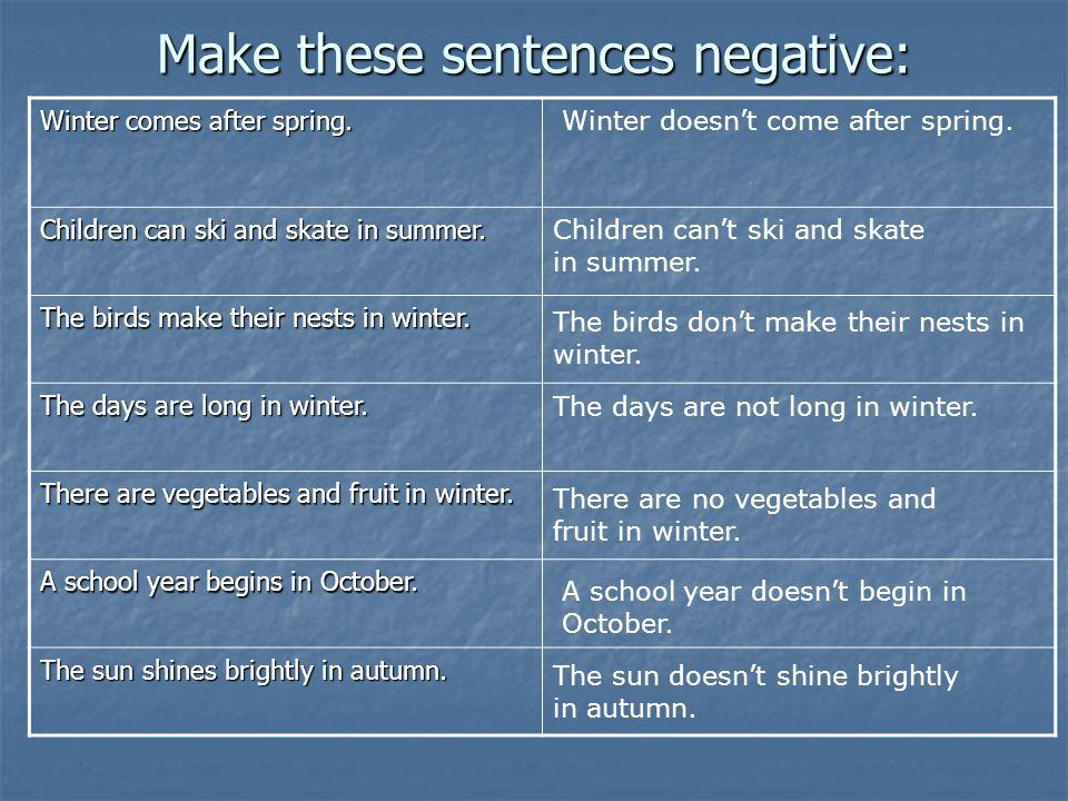 Make these sentences negative: Winter comes after spring.