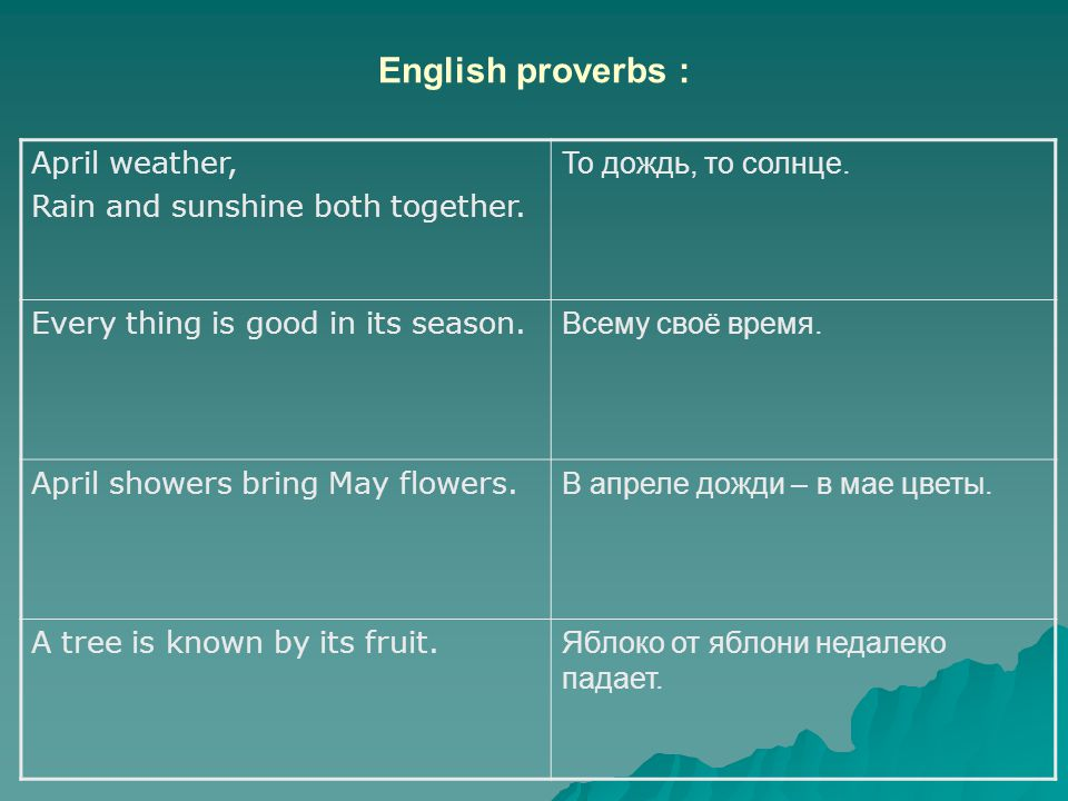 English proverbs : April weather, Rain and sunshine both together.