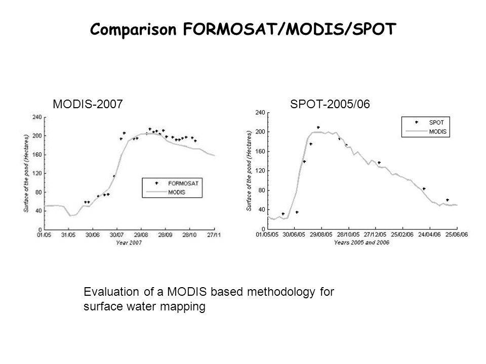 Comparison FORMOSAT/MODIS/SPOT MODIS-2007SPOT-2005/06 Evaluation of a MODIS based methodology for surface water mapping