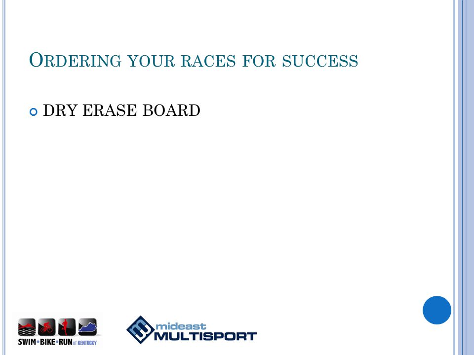 O RDERING YOUR RACES FOR SUCCESS DRY ERASE BOARD