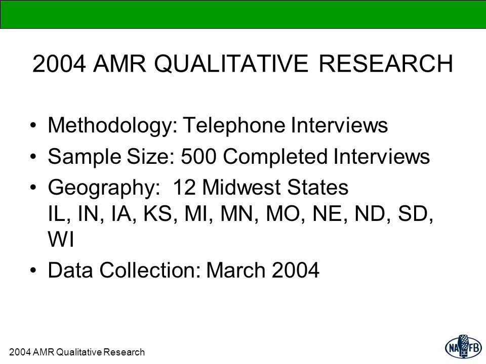2004 AMR QUALITATIVE RESEARCH Methodology: Telephone Interviews Sample Size: 500 Completed Interviews Geography: 12 Midwest States IL, IN, IA, KS, MI, MN, MO, NE, ND, SD, WI Data Collection: March 2004 2004 AMR Qualitative Research