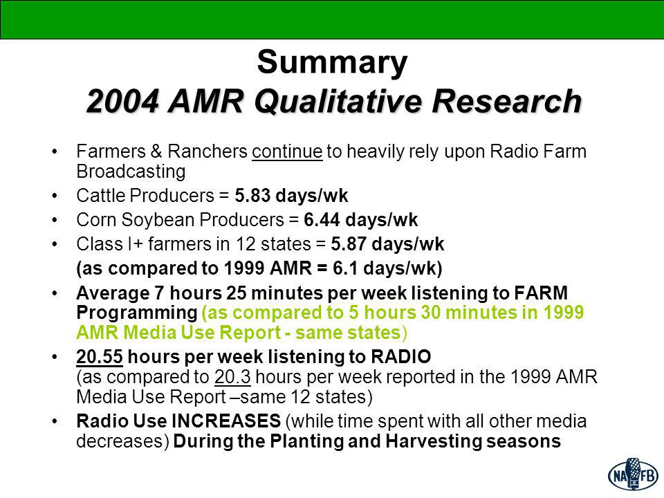 2004 AMR Qualitative Research Summary 2004 AMR Qualitative Research Farmers & Ranchers continue to heavily rely upon Radio Farm Broadcasting Cattle Producers = 5.83 days/wk Corn Soybean Producers = 6.44 days/wk Class I+ farmers in 12 states = 5.87 days/wk (as compared to 1999 AMR = 6.1 days/wk) Average 7 hours 25 minutes per week listening to FARM Programming (as compared to 5 hours 30 minutes in 1999 AMR Media Use Report - same states) 20.55 hours per week listening to RADIO (as compared to 20.3 hours per week reported in the 1999 AMR Media Use Report –same 12 states) Radio Use INCREASES (while time spent with all other media decreases) During the Planting and Harvesting seasons