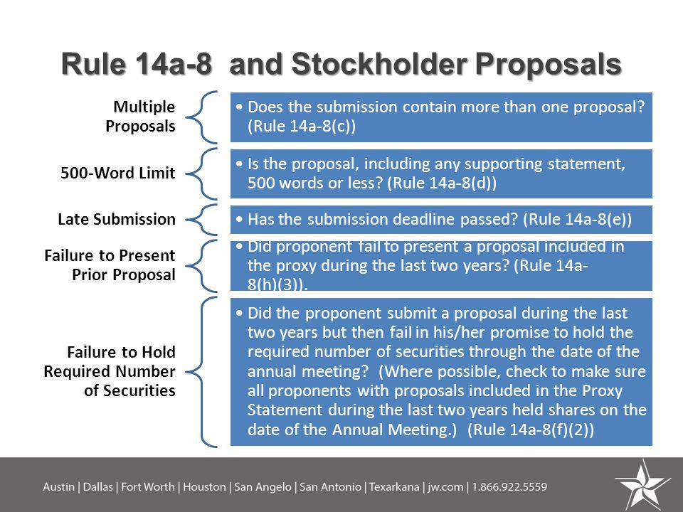 Rule 14a-8 and Stockholder Proposals Multiple Proposals Does the submission contain more than one proposal.