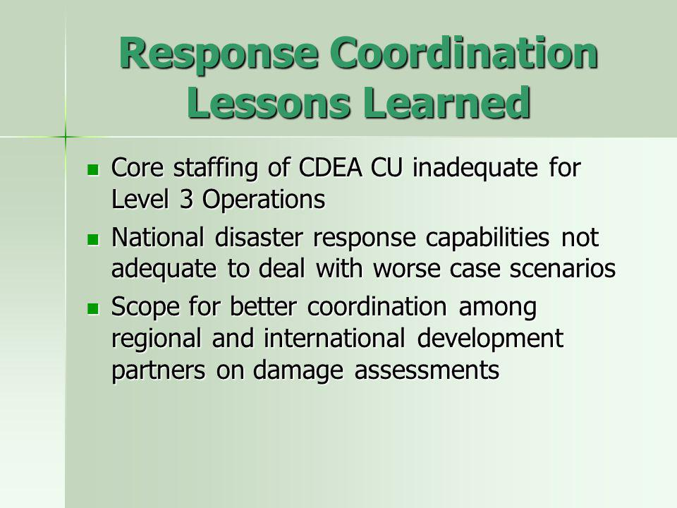 Response Coordination Lessons Learned Core staffing of CDEA CU inadequate for Level 3 Operations Core staffing of CDEA CU inadequate for Level 3 Operations National disaster response capabilities not adequate to deal with worse case scenarios National disaster response capabilities not adequate to deal with worse case scenarios Scope for better coordination among regional and international development partners on damage assessments Scope for better coordination among regional and international development partners on damage assessments