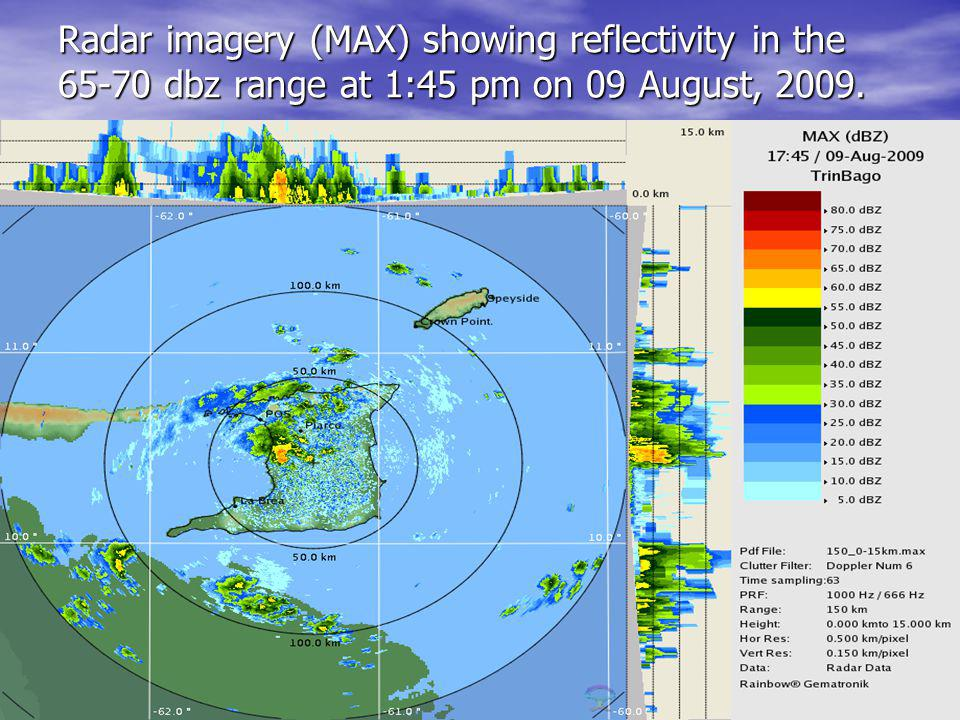 Radar imagery (MAX) showing reflectivity in the 65-70 dbz range at 1:45 pm on 09 August, 2009.