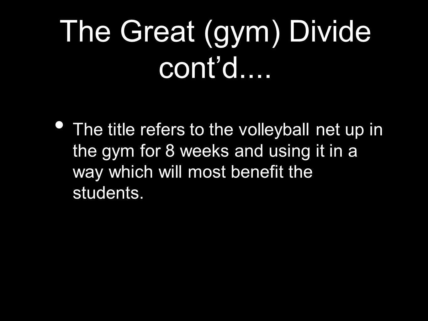 The Great (gym) Divide contd....