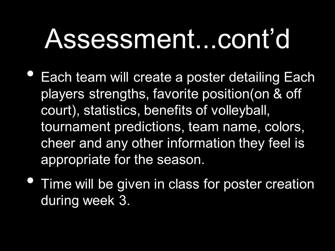Assessment...contd Each team will create a poster detailing Each players strengths, favorite position(on & off court), statistics, benefits of volleyball, tournament predictions, team name, colors, cheer and any other information they feel is appropriate for the season.