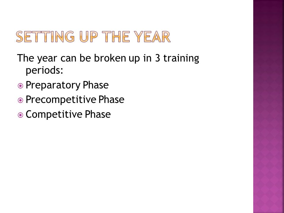 The year can be broken up in 3 training periods: Preparatory Phase Precompetitive Phase Competitive Phase