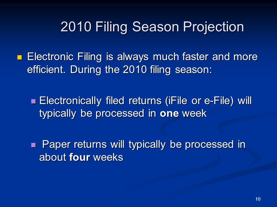 10 2010 Filing Season Projection Electronic Filing is always much faster and more efficient.