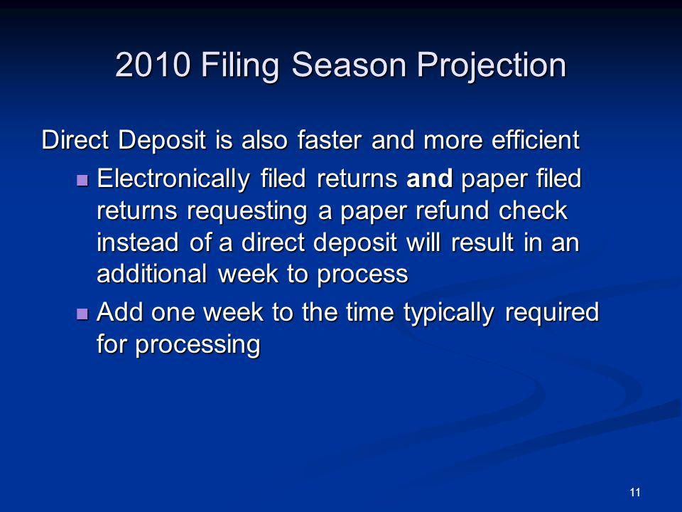 11 2010 Filing Season Projection Direct Deposit is also faster and more efficient Electronically filed returns and paper filed returns requesting a paper refund check instead of a direct deposit will result in an additional week to process Electronically filed returns and paper filed returns requesting a paper refund check instead of a direct deposit will result in an additional week to process Add one week to the time typically required for processing Add one week to the time typically required for processing