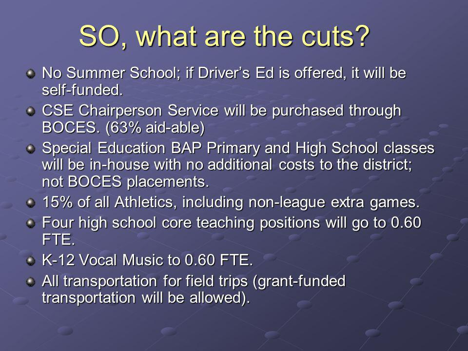 No Summer School; if Drivers Ed is offered, it will be self-funded.