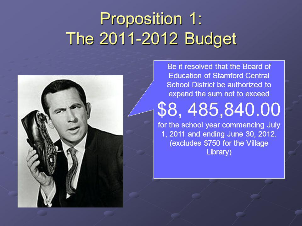 Proposition 1: The 2011-2012 Budget Be it resolved that the Board of Education of Stamford Central School District be authorized to expend the sum not to exceed $8, 485,840.00 for the school year commencing July 1, 2011 and ending June 30, 2012.