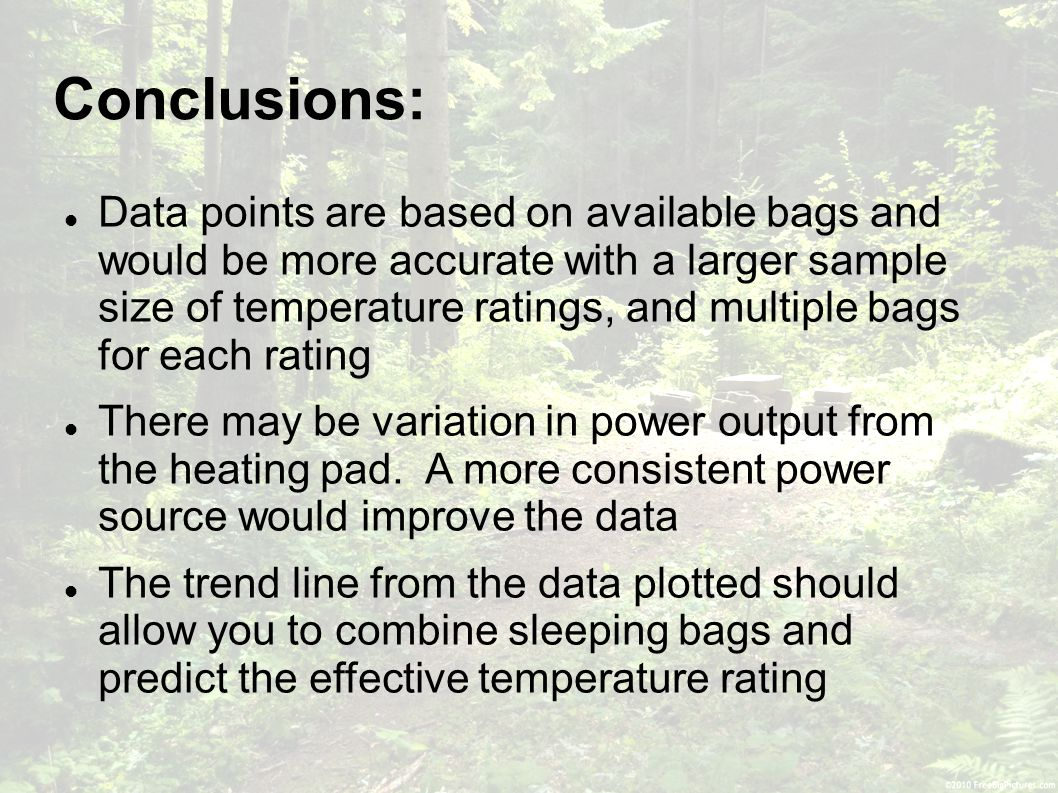 Conclusions: Data points are based on available bags and would be more accurate with a larger sample size of temperature ratings, and multiple bags for each rating There may be variation in power output from the heating pad.