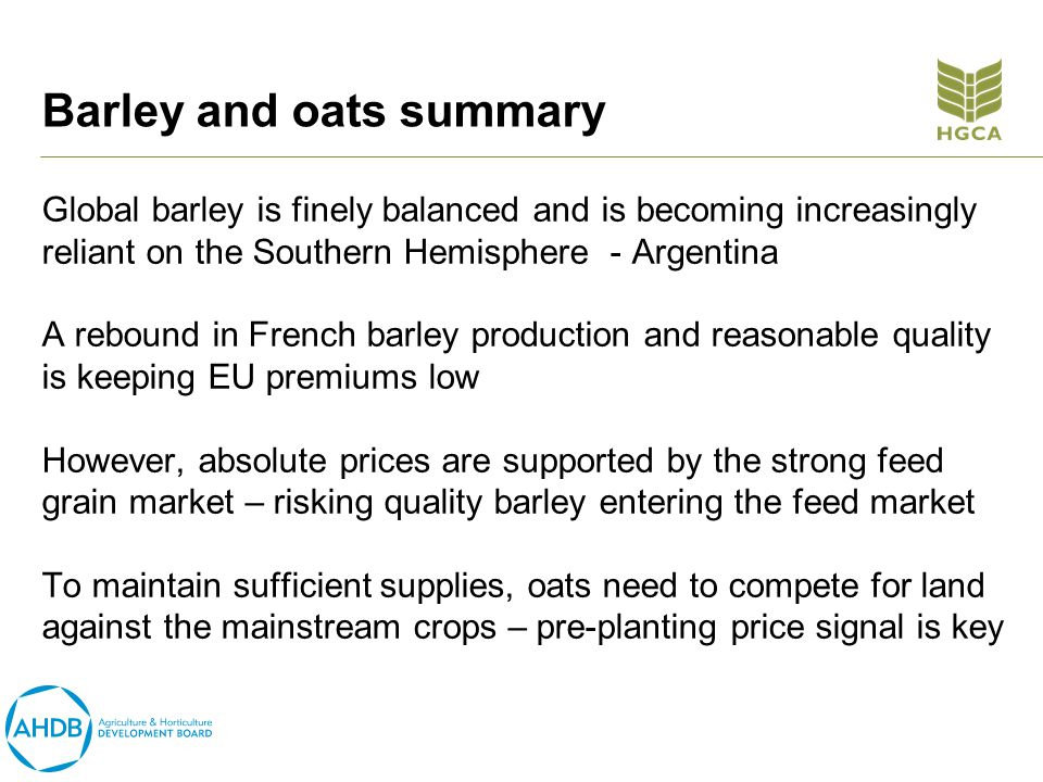 Barley and oats summary Global barley is finely balanced and is becoming increasingly reliant on the Southern Hemisphere - Argentina A rebound in French barley production and reasonable quality is keeping EU premiums low However, absolute prices are supported by the strong feed grain market – risking quality barley entering the feed market To maintain sufficient supplies, oats need to compete for land against the mainstream crops – pre-planting price signal is key