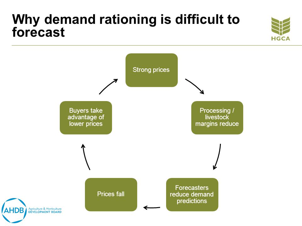Why demand rationing is difficult to forecast Strong prices Processing / livestock margins reduce Forecasters reduce demand predictions Prices fall Buyers take advantage of lower prices