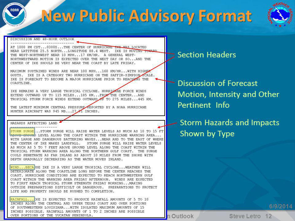 WFO Jacksonville, FL2010 Hurricane Season OutlookSteve Letro 12 6/9/2014 Section Headers Discussion of Forecast Motion, Intensity and Other Pertinent Info Storm Hazards and Impacts Shown by Type New Public Advisory Format