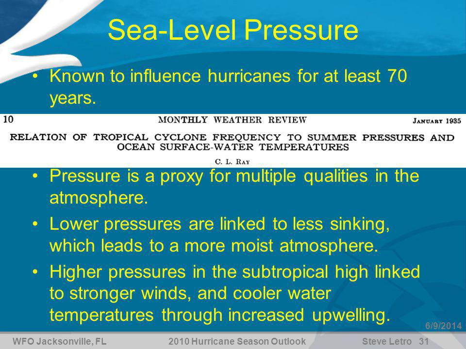 WFO Jacksonville, FL2010 Hurricane Season OutlookSteve Letro 31 6/9/2014 Sea-Level Pressure Known to influence hurricanes for at least 70 years.