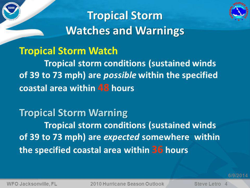 WFO Jacksonville, FL2010 Hurricane Season OutlookSteve Letro 4 6/9/2014 Tropical Storm Watches and Warnings Tropical Storm Watch Tropical storm conditions (sustained winds of 39 to 73 mph) are possible within the specified coastal area within 48 hours Tropical Storm Warning Tropical storm conditions (sustained winds of 39 to 73 mph) are expected somewhere within the specified coastal area within 36 hours