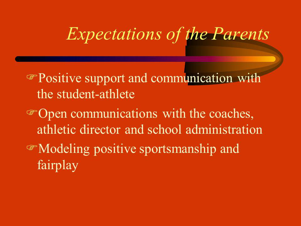 Expectations of the Parents FPositive support and communication with the student-athlete FOpen communications with the coaches, athletic director and school administration FModeling positive sportsmanship and fairplay