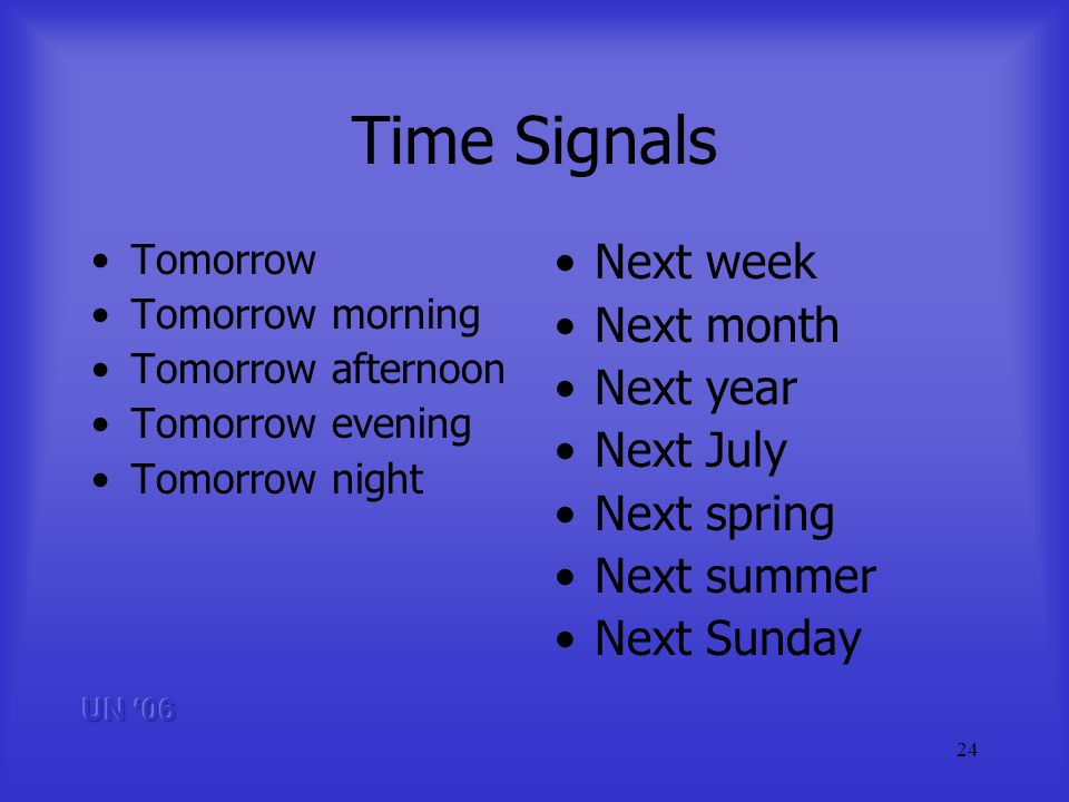 24 Time Signals Tomorrow Tomorrow morning Tomorrow afternoon Tomorrow evening Tomorrow night Next week Next month Next year Next July Next spring Next summer Next Sunday