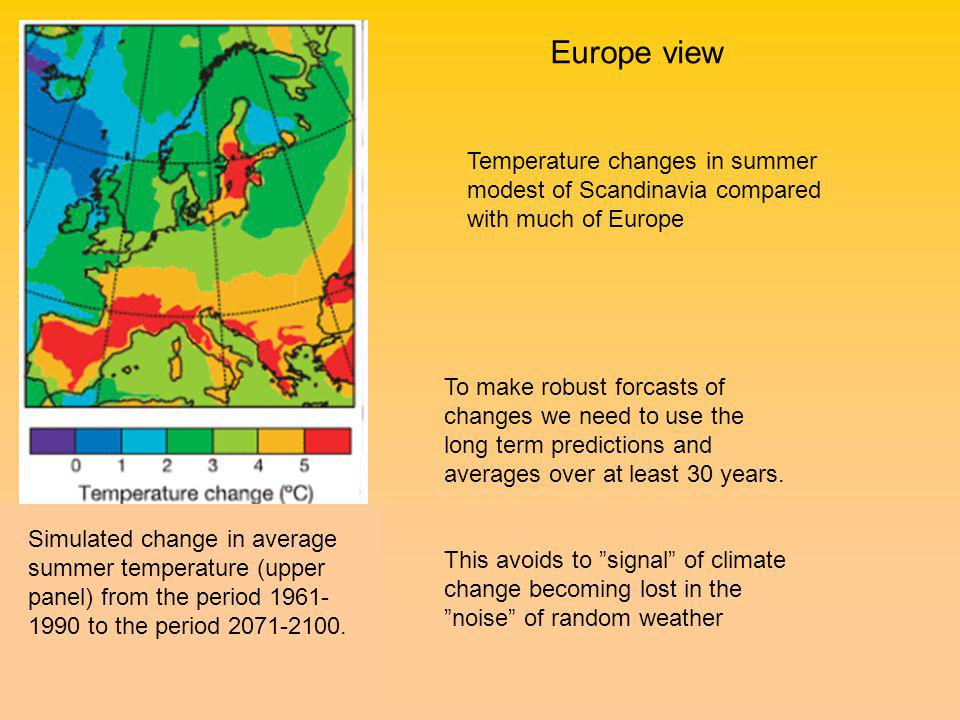 Simulated change in average summer temperature (upper panel) from the period to the period