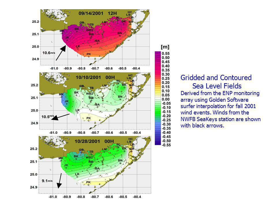 Gridded and Contoured Sea Level Fields Derived from the ENP monitoring array using Golden Software surfer interpolation for fall 2001 wind events.
