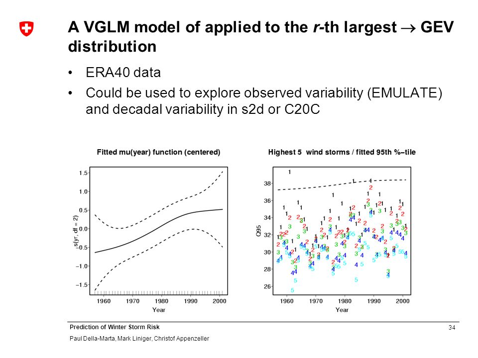 34 Prediction of Winter Storm Risk Paul Della-Marta, Mark Liniger, Christof Appenzeller A VGLM model of applied to the r-th largest GEV distribution ERA40 data Could be used to explore observed variability (EMULATE) and decadal variability in s2d or C20C