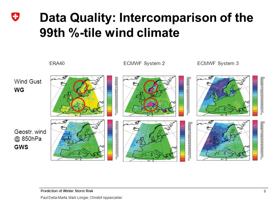 8 Prediction of Winter Storm Risk Paul Della-Marta, Mark Liniger, Christof Appenzeller Data Quality: Intercomparison of the 99th %-tile wind climate Wind Gust WG Geostr.