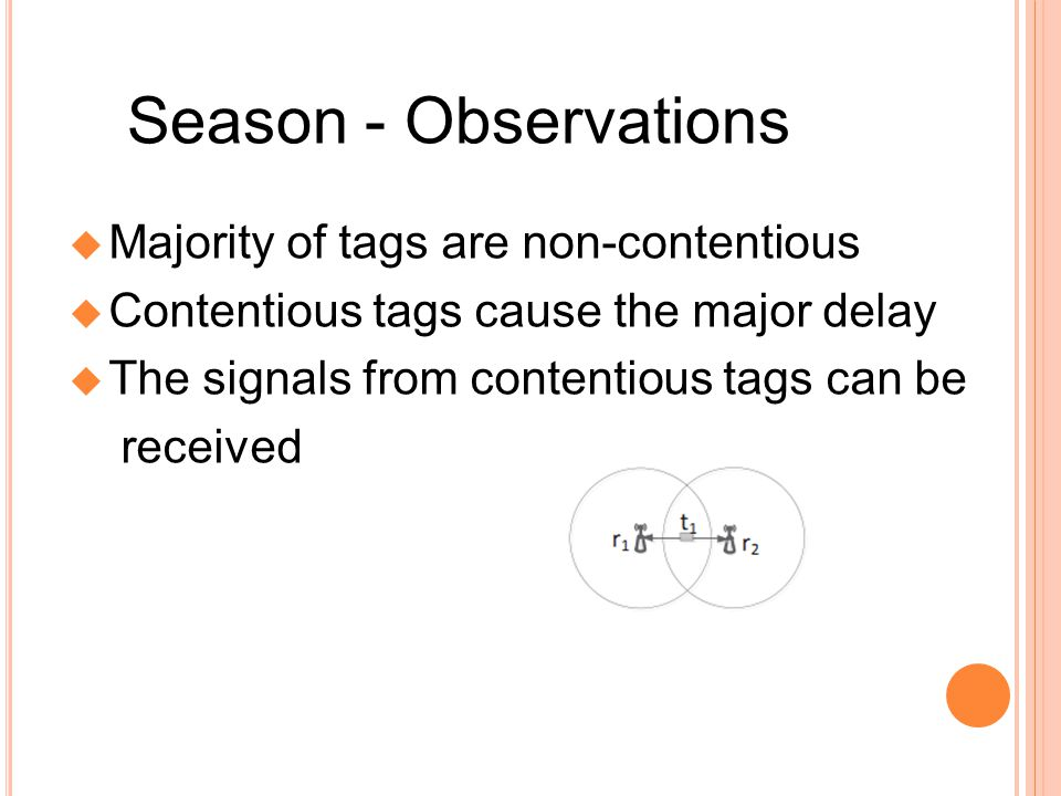 Season - Observations Majority of tags are non-contentious Contentious tags cause the major delay The signals from contentious tags can be received