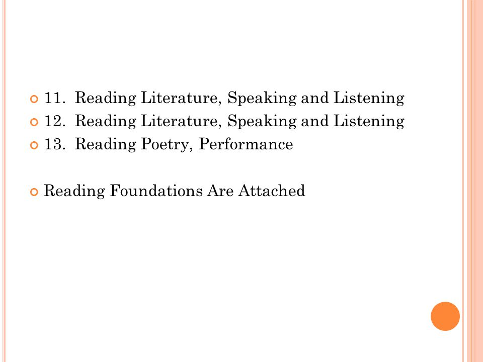 11. Reading Literature, Speaking and Listening 12.