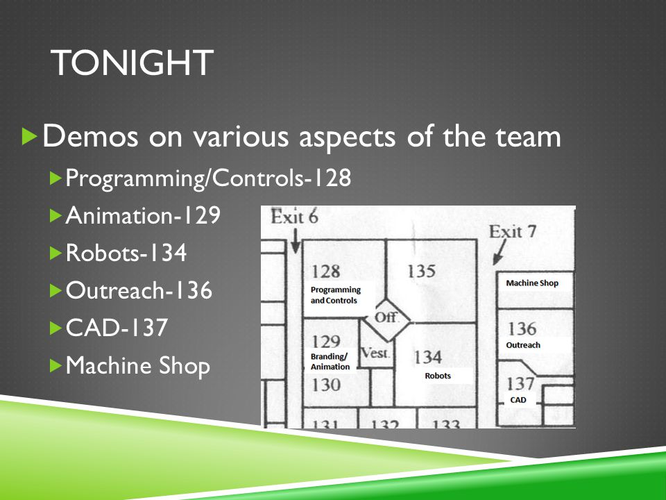 TONIGHT Demos on various aspects of the team Programming/Controls-128 Animation-129 Robots-134 Outreach-136 CAD-137 Machine Shop