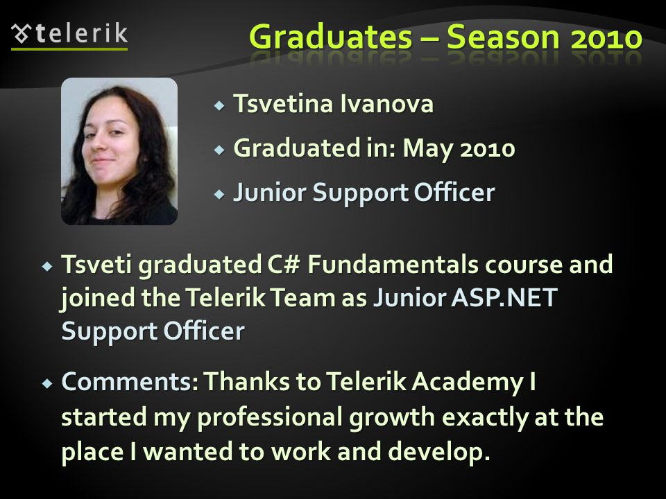 Tsvetina Ivanova Tsvetina Ivanova Graduated in: May 2010 Graduated in: May 2010 Junior Support Officer Junior Support Officer Tsveti graduated C# Fundamentals course and joined the Telerik Team as Junior ASP.NET Support Officer Tsveti graduated C# Fundamentals course and joined the Telerik Team as Junior ASP.NET Support Officer Comments: Thanks to Telerik Academy I started my professional growth exactly at the place I wanted to work and develop.