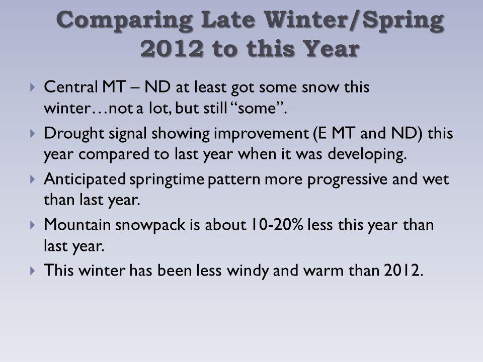 Comparing Late Winter/Spring 2012 to this Year Central MT – ND at least got some snow this winter…not a lot, but still some.