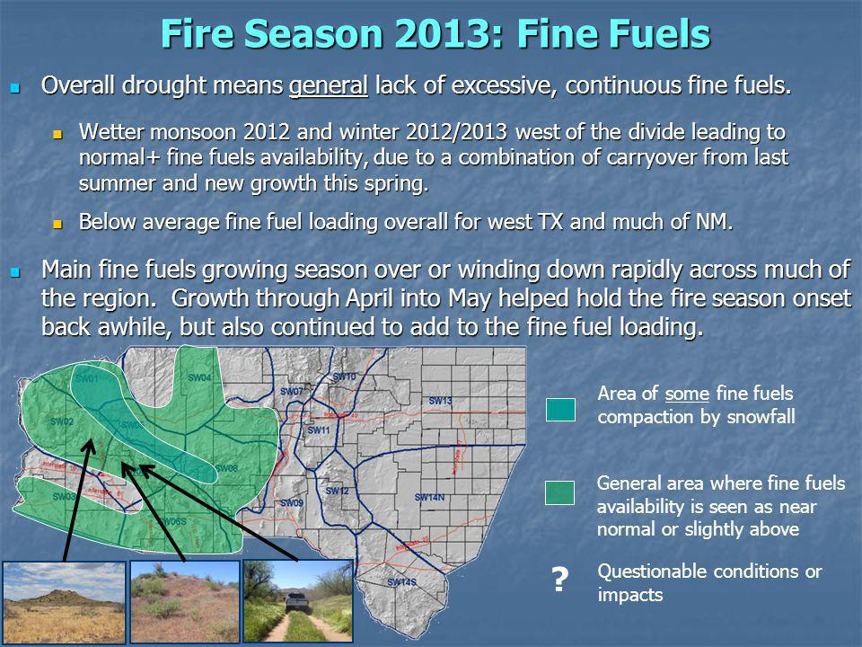Fire Season 2013: Fine Fuels Overall drought means general lack of excessive, continuous fine fuels.