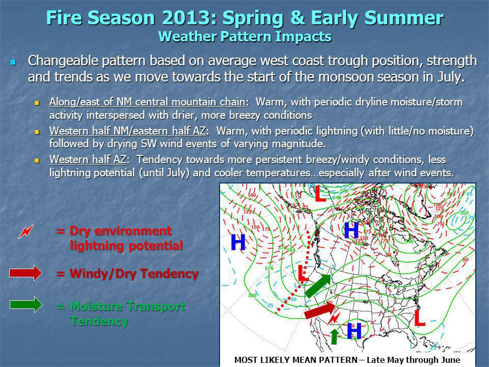 Fire Season 2013: Spring & Early Summer Weather Pattern Impacts Changeable pattern based on average west coast trough position, strength and trends as we move towards the start of the monsoon season in July.