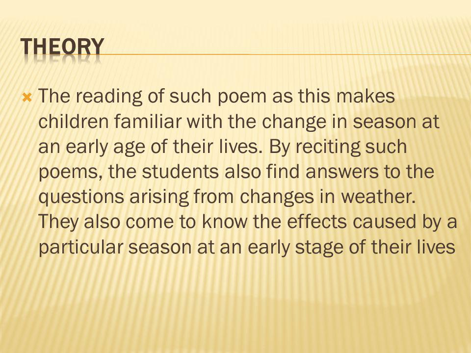 The reading of such poem as this makes children familiar with the change in season at an early age of their lives.