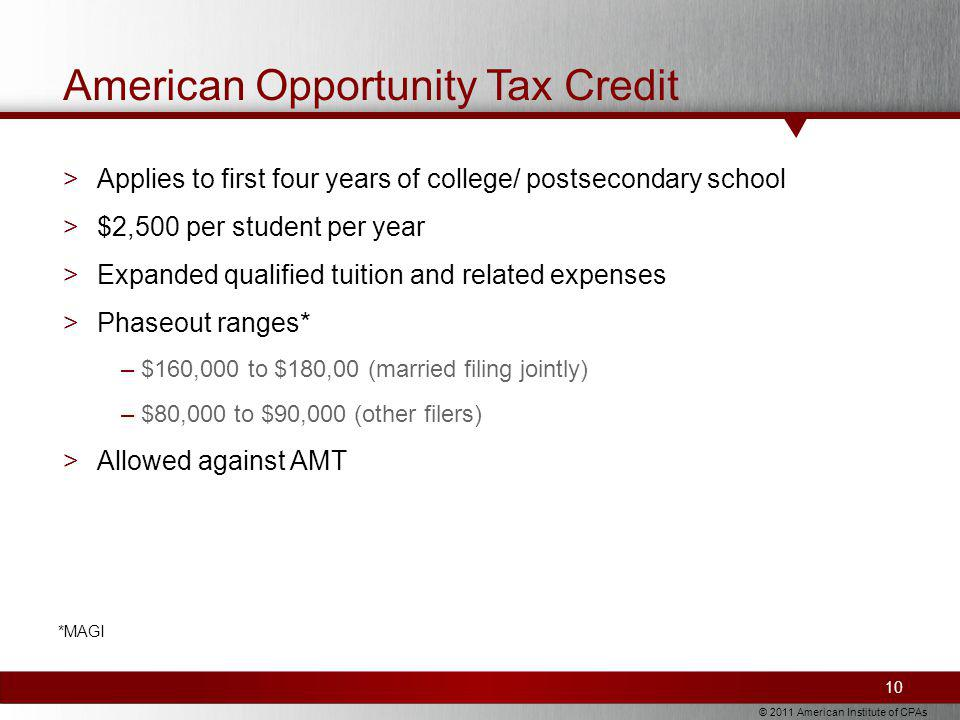 © 2011 American Institute of CPAs American Opportunity Tax Credit >Applies to first four years of college/ postsecondary school >$2,500 per student per year >Expanded qualified tuition and related expenses >Phaseout ranges* –$160,000 to $180,00 (married filing jointly) –$80,000 to $90,000 (other filers) >Allowed against AMT 10 *MAGI