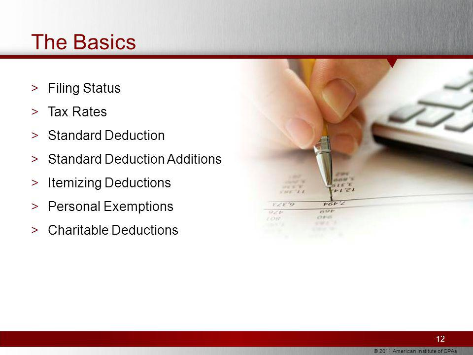 © 2011 American Institute of CPAs The Basics >Filing Status >Tax Rates >Standard Deduction >Standard Deduction Additions >Itemizing Deductions >Personal Exemptions >Charitable Deductions 12