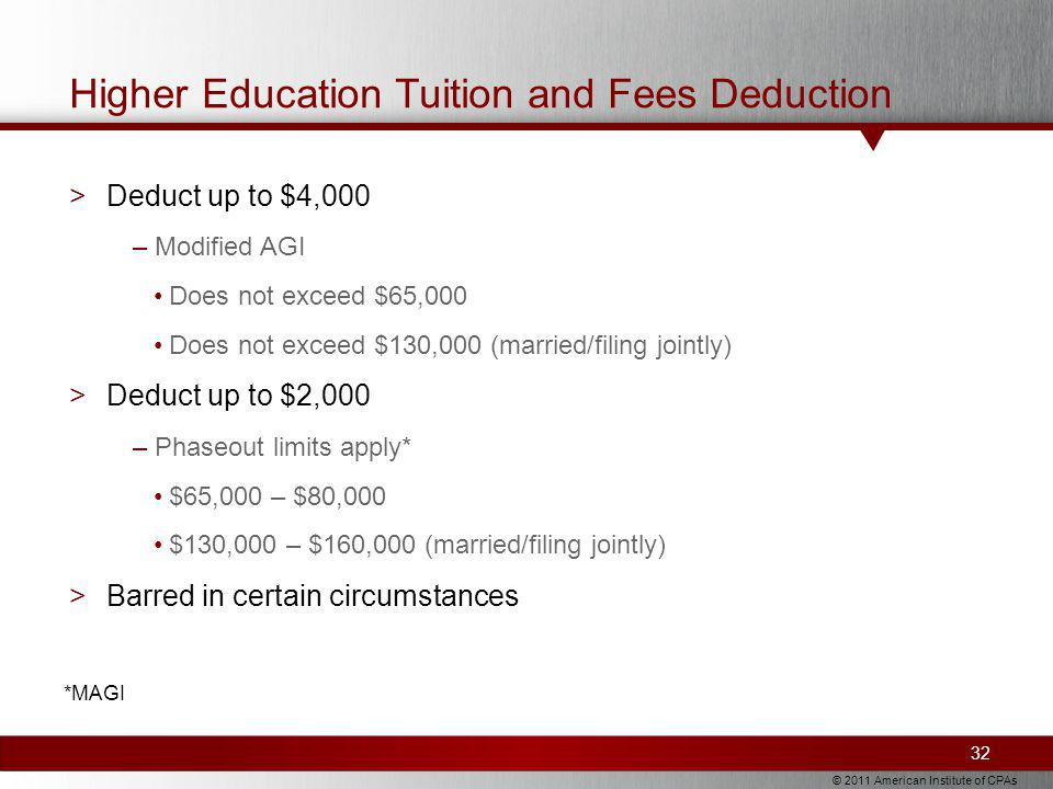 © 2011 American Institute of CPAs Higher Education Tuition and Fees Deduction >Deduct up to $4,000 –Modified AGI Does not exceed $65,000 Does not exceed $130,000 (married/filing jointly) >Deduct up to $2,000 –Phaseout limits apply* $65,000 – $80,000 $130,000 – $160,000 (married/filing jointly) >Barred in certain circumstances 32 *MAGI