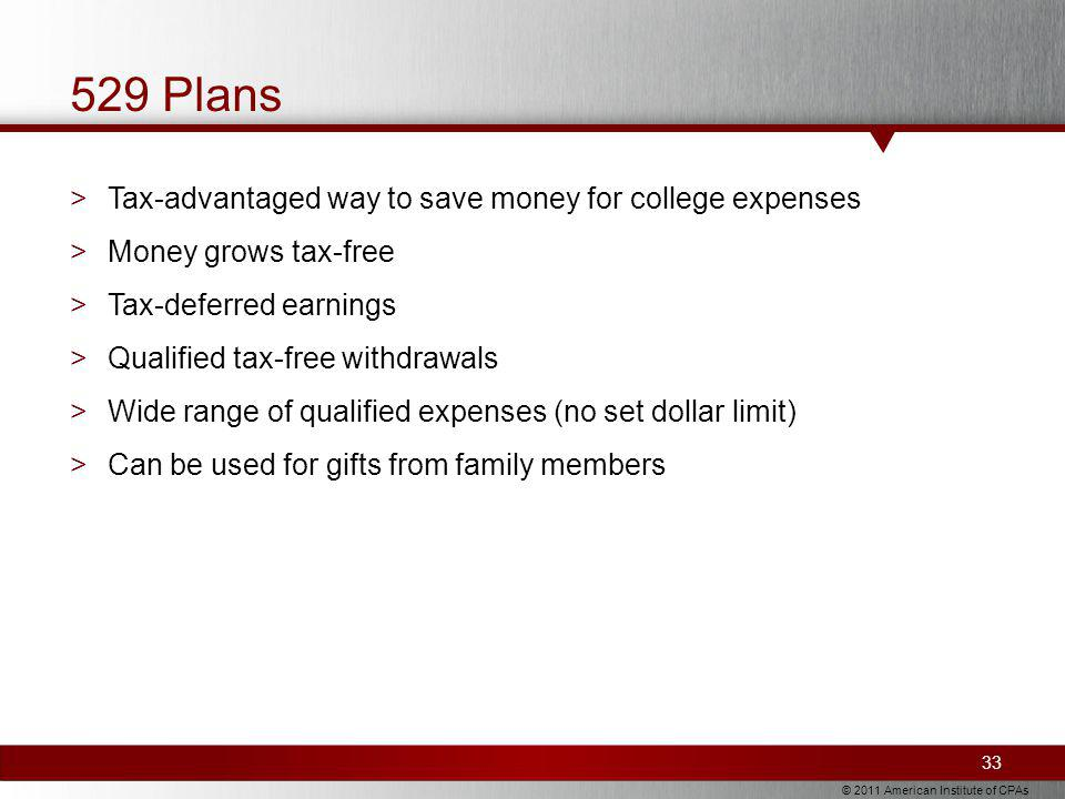 © 2011 American Institute of CPAs 529 Plans >Tax-advantaged way to save money for college expenses >Money grows tax-free >Tax-deferred earnings >Qualified tax-free withdrawals >Wide range of qualified expenses (no set dollar limit) >Can be used for gifts from family members 33