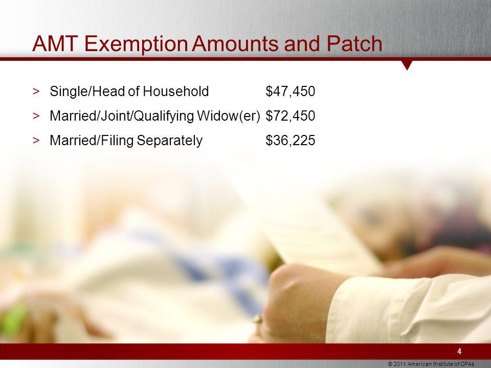 © 2011 American Institute of CPAs AMT Exemption Amounts and Patch >Single/Head of Household$47,450 >Married/Joint/Qualifying Widow(er)$72,450 >Married/Filing Separately$36,225 4