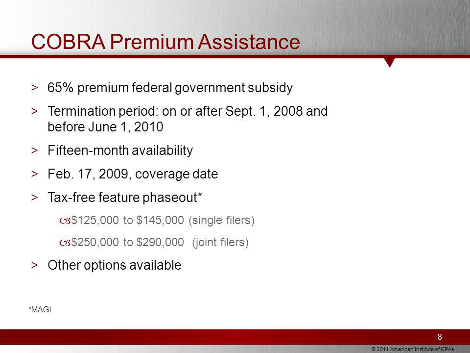 © 2011 American Institute of CPAs COBRA Premium Assistance >65% premium federal government subsidy >Termination period: on or after Sept.