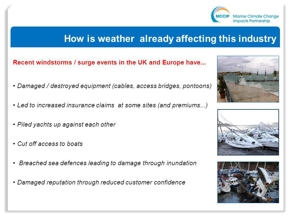 How is weather already affecting this industry Recent windstorms / surge events in the UK and Europe have...