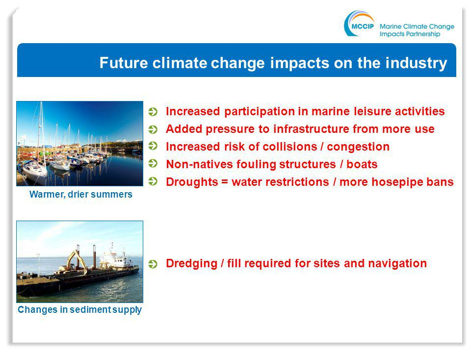 Future climate change impacts on the industry Increased participation in marine leisure activities Added pressure to infrastructure from more use Increased risk of collisions / congestion Non-natives fouling structures / boats Droughts = water restrictions / more hosepipe bans Changes in sediment supply Warmer, drier summers Dredging / fill required for sites and navigation