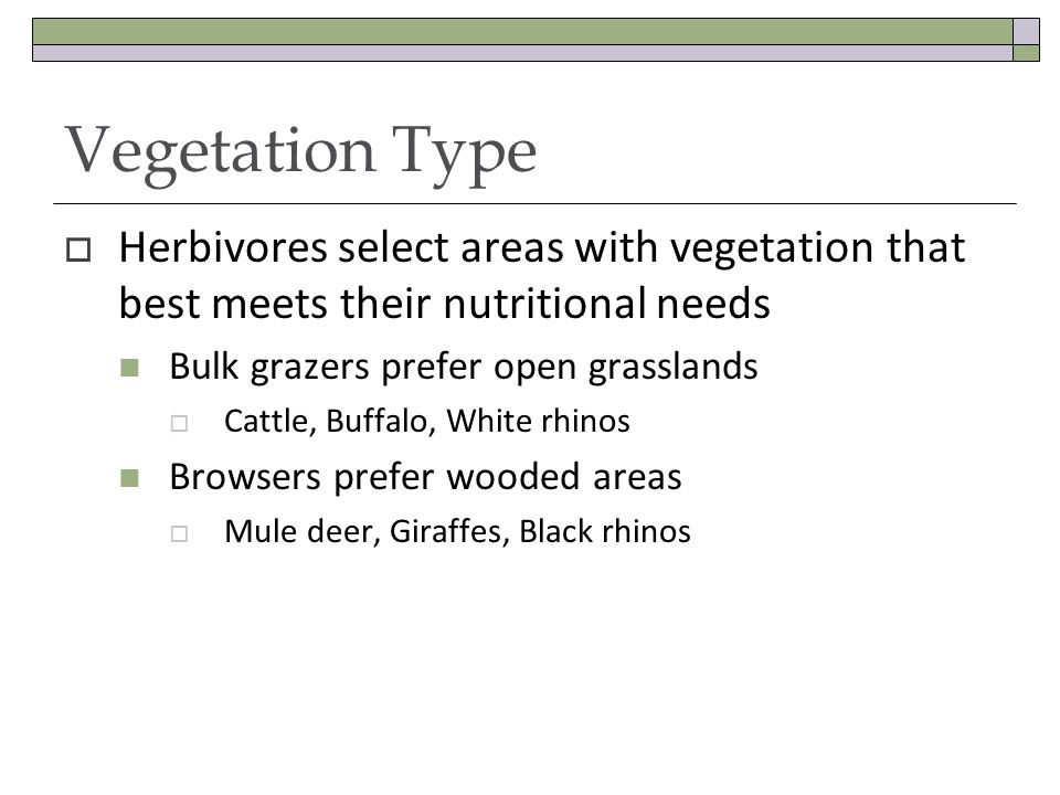 Vegetation Type Herbivores select areas with vegetation that best meets their nutritional needs Bulk grazers prefer open grasslands Cattle, Buffalo, White rhinos Browsers prefer wooded areas Mule deer, Giraffes, Black rhinos