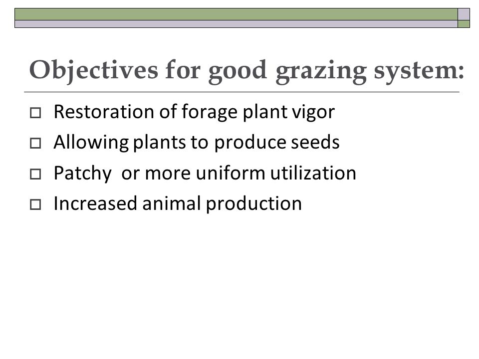 Objectives for good grazing system: Restoration of forage plant vigor Allowing plants to produce seeds Patchy or more uniform utilization Increased animal production