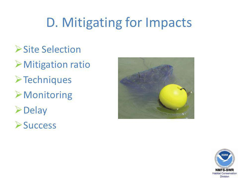 D. Mitigating for Impacts Site Selection Mitigation ratio Techniques Monitoring Delay Success