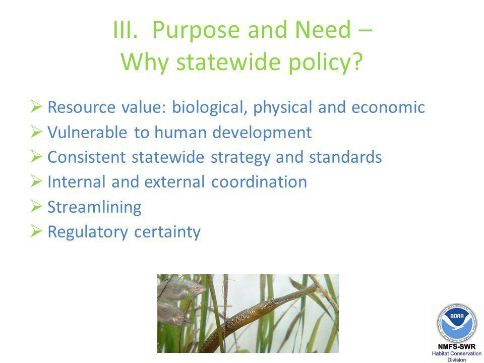 III. Purpose and Need – Why statewide policy.