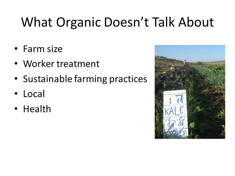 What Organic Doesnt Talk About Farm size Worker treatment Sustainable farming practices Local Health